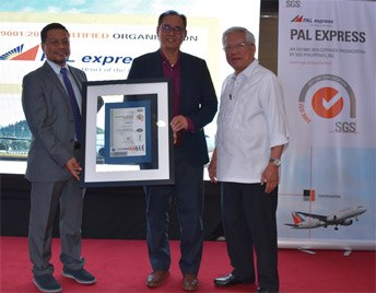 ISO 9001:2015 certification awarding with SGS Philippines Inc. Managing Director Ariel Miranda and PAL express President Bonifacio U. Sam